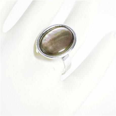 Bague Ubu ovale nacre grise et métal argenté réglable