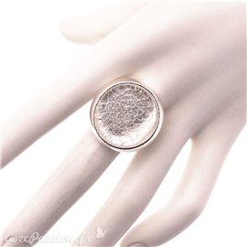 Bague Ubu rond simple quartz blanc translucide & argent