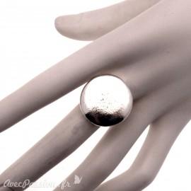 Bague Ubu rond métal argenté rond réglable