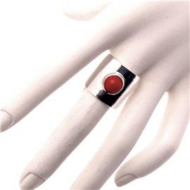 Bague Ubu carré à perle argent & rouge opaque