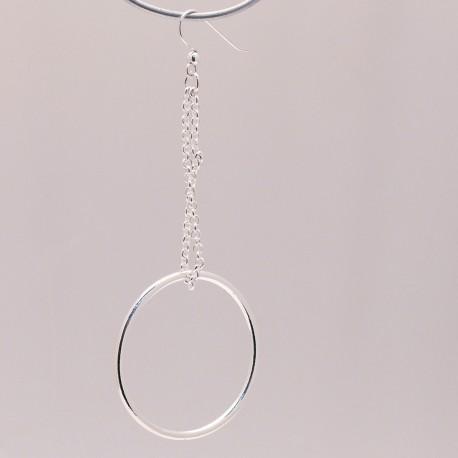 Boucles d'oreilles Ubu chaine rond oreilles percées métal argenté