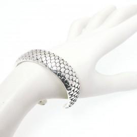 Bracelet Ubu jonc écailles argent rigide