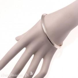 Bracelet fantaisie Ubu jonc rond bombé argent rigide
