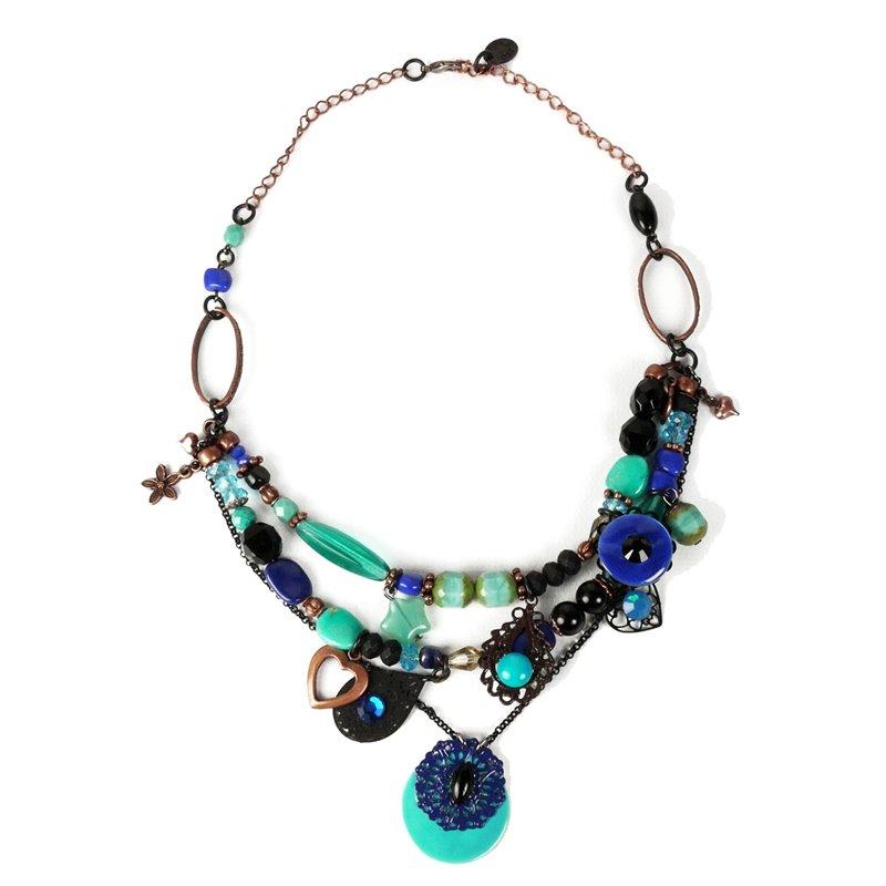 5749fce3e94 Collier fantaisie Clairébelle bleu turquoise 3 rangs