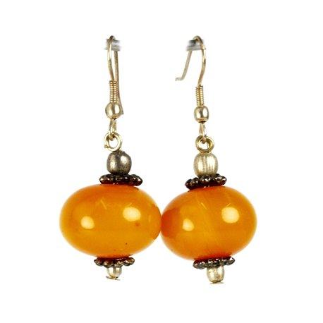 Boucles d'oreilles ethnique orange oreilles percées -