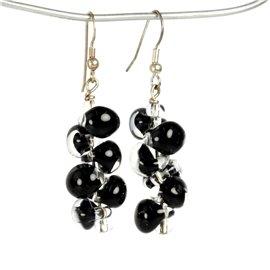 Boucles d'oreilles pendantes noires créateur Périgrine