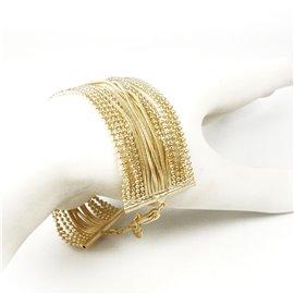 Manchette doré bracelet fantaisie multi rangs chaines Eneida