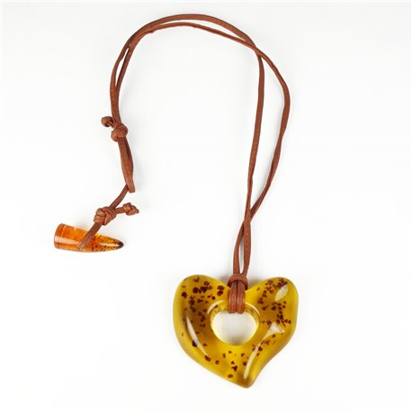 Sautoir fantaisie Sobral cuir marron et coeur ambre marron --