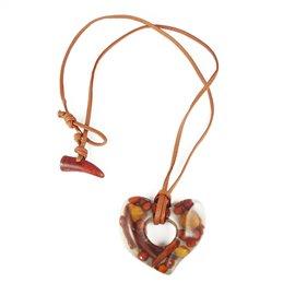 Sautoir fantaisie Sobral cuir marron et coeur inclusion épices -