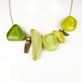 Collier fantaisie Nathalie Borderie 5 médaillon verre vert -