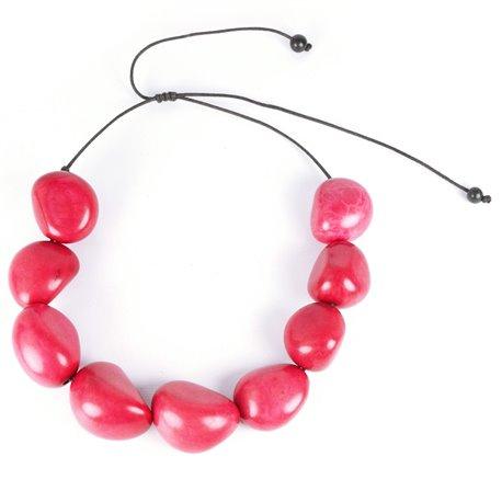 Collier fantaisie Kazuri noix de palme rose fushia -