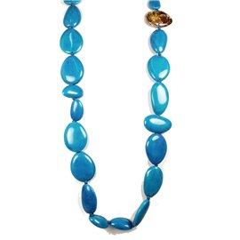Sautoir fantaisie Sobral en résine bleu turquoise -