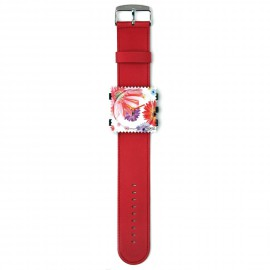 Bracelet de montre Stamps rouge satin