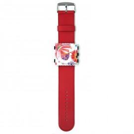 Bracelet de montre Stamps rouge satin