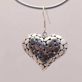 Boucles d'oreilles coeur argent 925 oreilles percées -