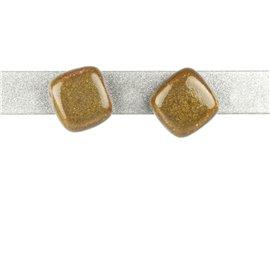 Boucles d'oreilles clous Kazuri céramique vert kaki carré