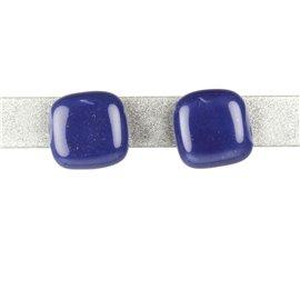 Boucles d'oreilles clous Kazuri céramique bleu carré