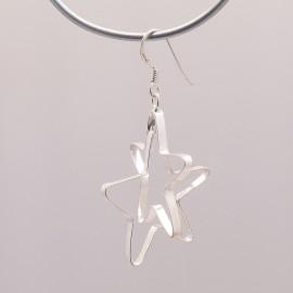 Boucles d'oreilles étoiles en argent 925 oreilles percées