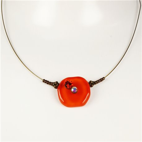 Collier fantaisie Nathalie Borderie 1 médaillon verre orange -