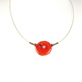 Collier fantaisie Nathalie Borderie 1 médaillon verre rouge -