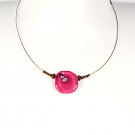 Collier fantaisie Nathalie Borderie 1 médaillon verre rose -