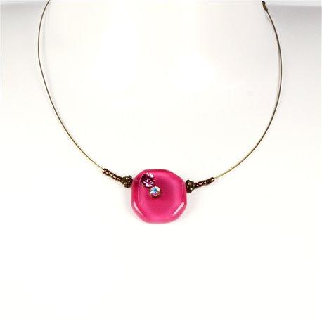 Collier fantaisie Nathalie Borderie 1 médaillon verre rose -