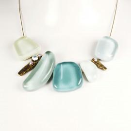 Collier fantaisie Nathalie Borderie 5 médaillon verre bleu clair -