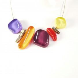 Collier fantaisie Nathalie Borderie 5 médaillons verre multicolore -