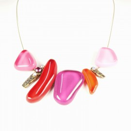 Collier fantaisie Nathalie Borderie 5 médaillon verre rose -