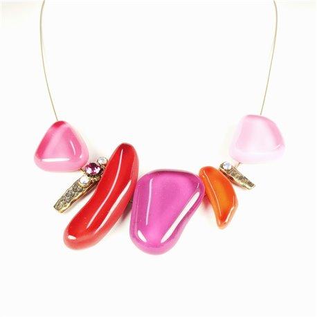 Collier fantaisie Nathalie Borderie 5 médaillon verre rose -