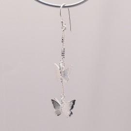 Boucles d'oreilles papillon en argent 925 oreilles percées