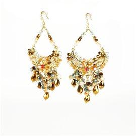 Boucles d'oreilles pendantes Cheny's oreilles percées estampes dorées perles rocailles multicolores