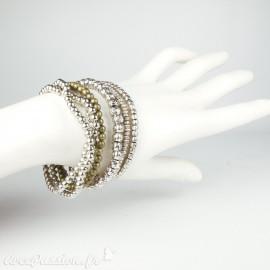 Bracelet Cheny's multi rangs argent 7 bracelets élastiques