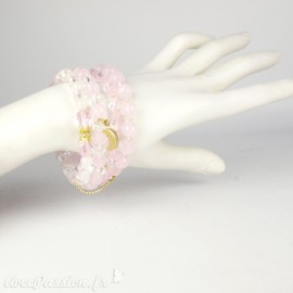 Bracelet Cheny's multi rangs perles roses et bijoux dorés