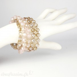 Bracelet Cheny's multi rangs perles marrons irisées