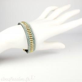 Bracelet Cheny's aimanté strass verts et dorés - attache en métal doré
