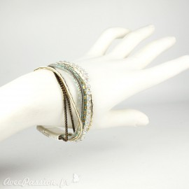 Bracelet Cheny's multi rangs bohème chic bleu turquoise doré et marron