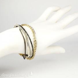 Bracelet Cheny's aimanté multi-rangs bohème chic doré, marron et gris - attache en métal doré