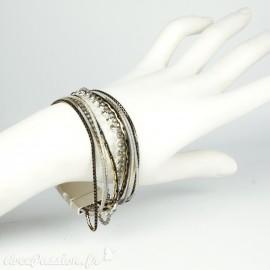 Bracelet Cheny's multi rangs bohème chic argent noir et doré