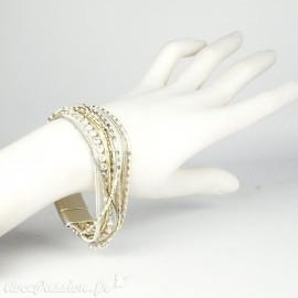 Bracelet Cheny's multi rangs bohème chic gris blanc et doré