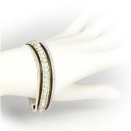 Bracelet Cheny's aimanté multi-rangs bohème chic blanc, doré et marron - attache en métal argent