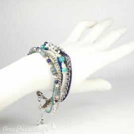Bracelet Cheny's multi rangs bohème chic argent et bleu