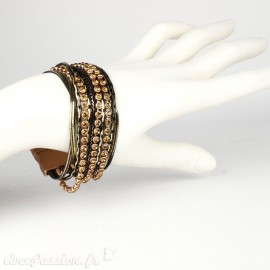 Bracelet Cheny's aimanté multi-rangs bohème chic cuivre, doré et noir - attache en métal cuivre