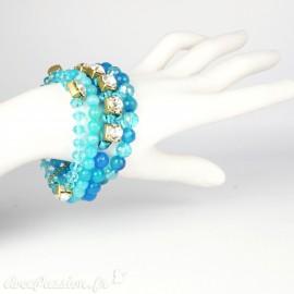 Bracelet Cheny's multi rangs perles bleues avec strass cristal et doré