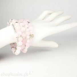 Bracelet Cheny's multi-rangs perles roses et argent