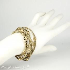 Bracelet Cheny's multi rangs lien en cuir beige imprimé fauve
