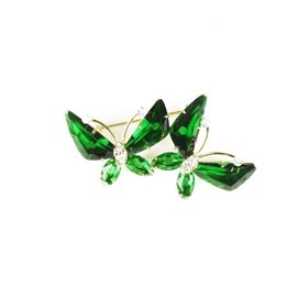 Broche Cheny's papillons vert cristal