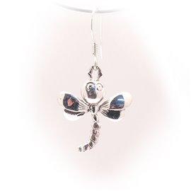 Boucles d'oreilles libellule en argent 925 oreilles percées