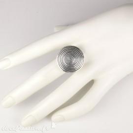 Bague Ubu ronde argent spirale réglable (grande)