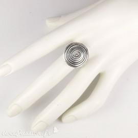 Bague Ubu ronde argent spirale réglable (petite)